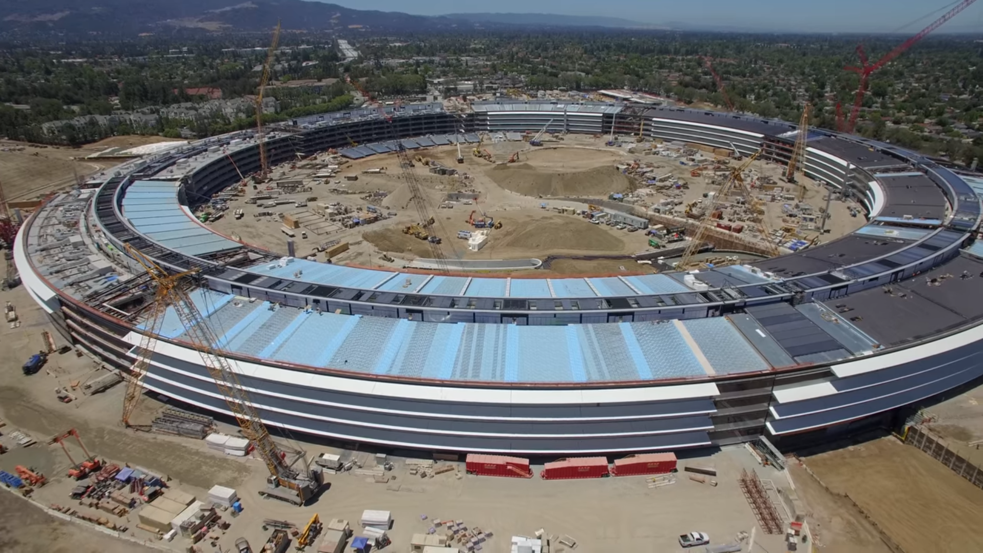 Apple Campus 2 drone footage shows construction progress