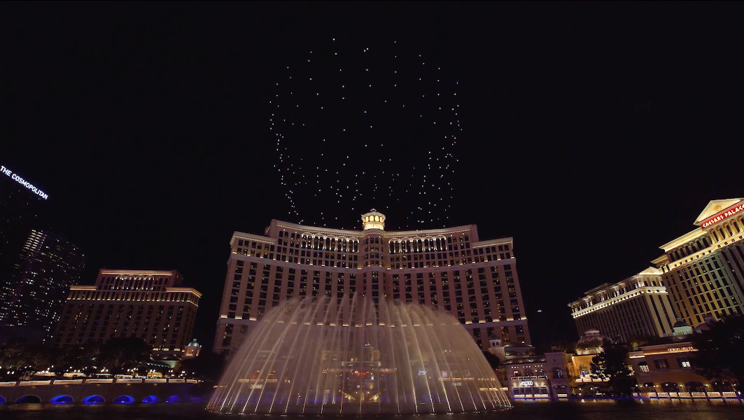 Intel's light-show drones are flying over the Bellagio fountain in Las Vegas