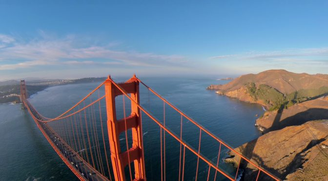 golden gate bridge drone