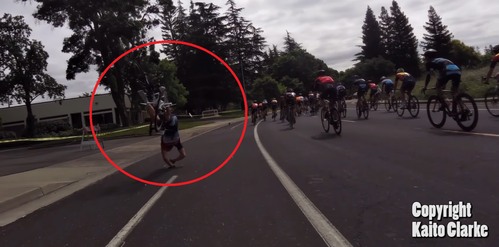 A DJI Phantom crashed into a bike race — causing the cyclist to fly over the handles