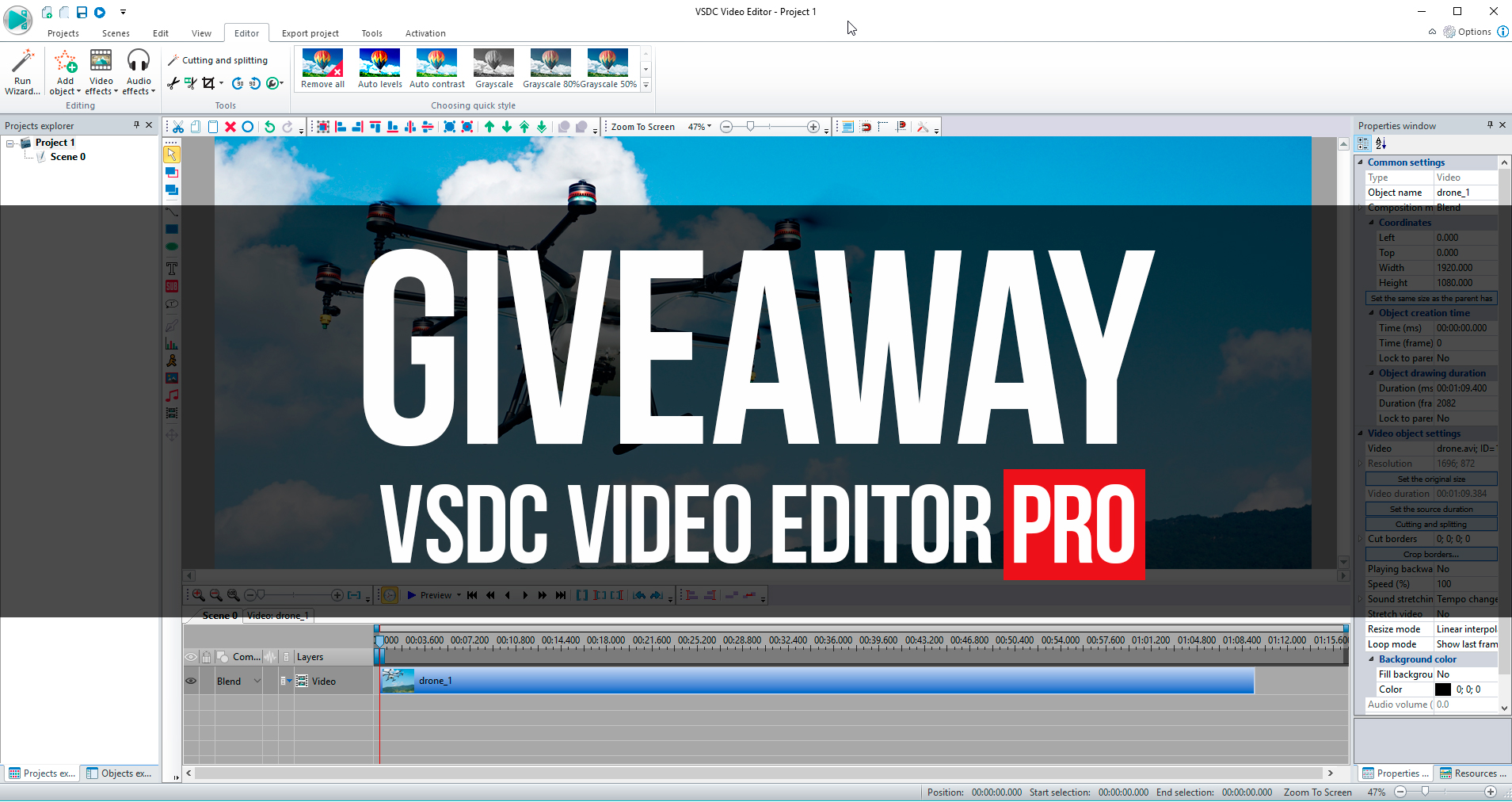 VSDC Video Editor Pro is giving away free Pro licenses to Drone Girl community
