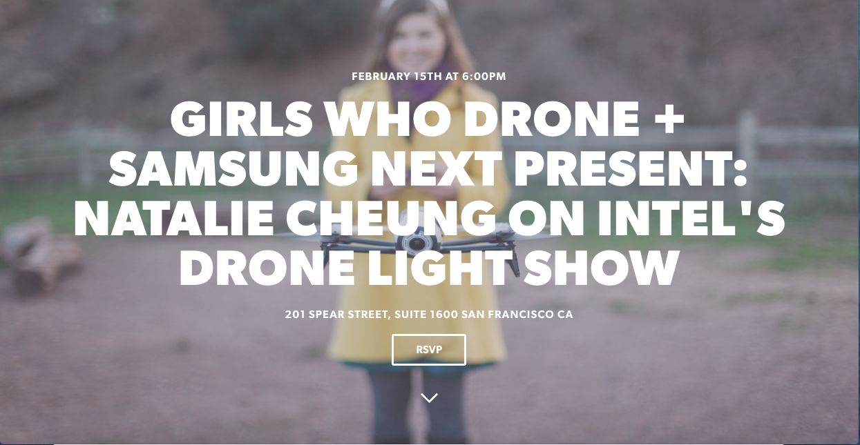 "Join me in San Francisco for my 2nd ""Girls Who Drone"" event featuring Intel's light show team!"